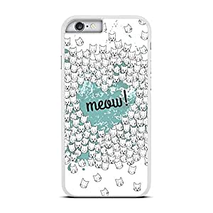 Funda carcasa para Apple iPhone 6 6S Plus estampado gato gatos meow! Azul turquesa borde blanco