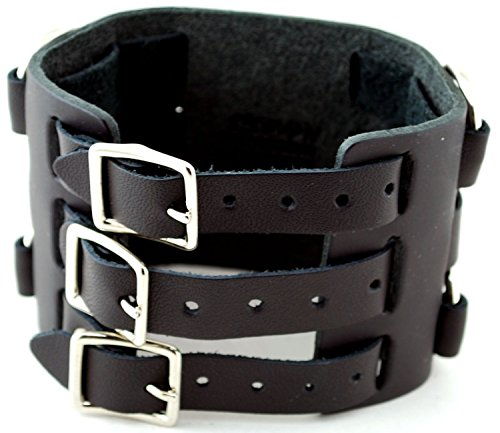 Findingking black leather wide cuff watch band