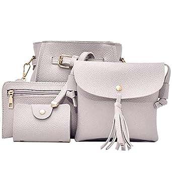 TOOGOO 4Pcs Women Handbag Bags Set Synthetic Leather Clutch Purse Shoulder Messenger Bag, Gray