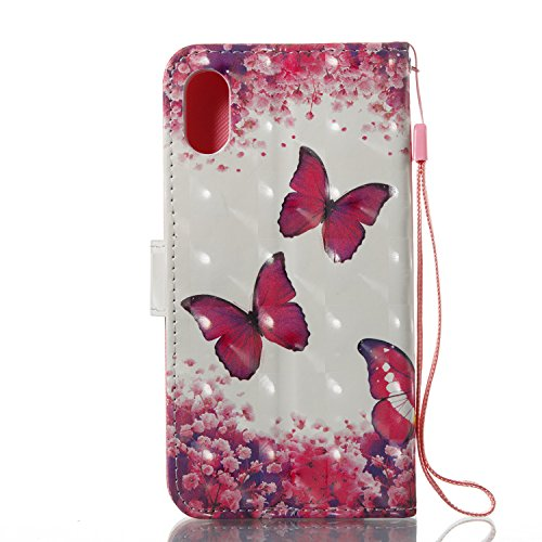 Coque iPhone X Papillon Rose Portefeuille Fermoir Magnétique Supporter Flip Téléphone Protection Housse Case Étui Pour Apple iPhone X / iPhone 10 (2017) 5.8 Pouce + Deux cadeau