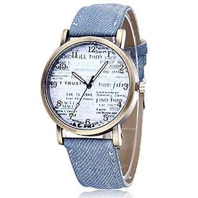 Souarts Denim Blue Strap Artificial Leather Quartz Wrist Watch
