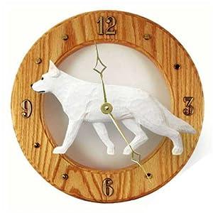 Michael Park White German Shepherd Dog Wall Clock in Light Oak 18