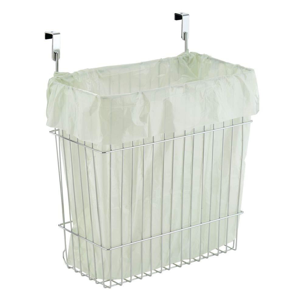 mDesign Cubo de basura de cocina para bolsas de 15l - Contenedor de reciclaje con cromado, también apropiado para el baño - Bote de residuos para ...