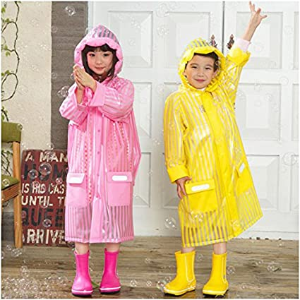 C.A.Z Age 5-12 Kids Rain Jacket Rain Poncho Raincoat Hooded with School Bag Cover and Safety Reflective Stripe Pink-xxl XX-Large