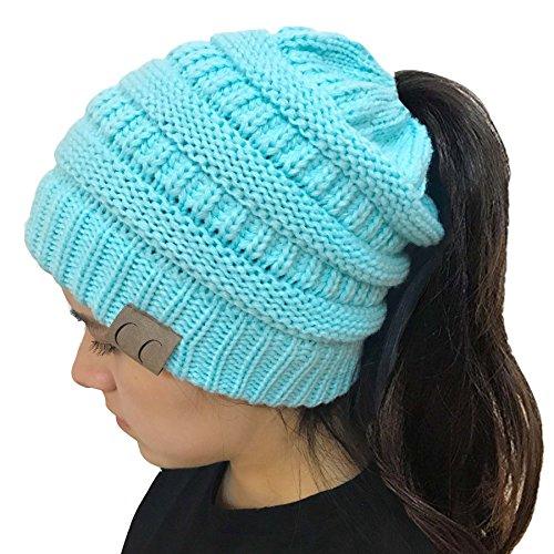 light blue knit beanie - 3