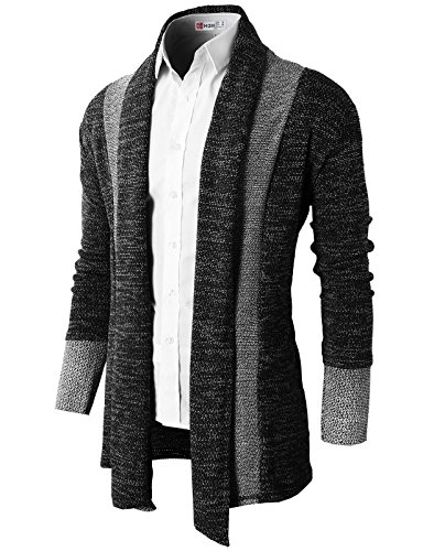 H2H Mens Casual Slim Fit Knit Cardigan with Double Shawl Collar
