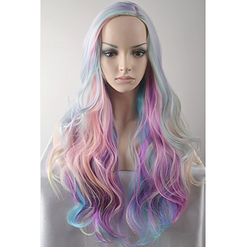 BERON Long Curly Multi-Color Charming Full Wigs for Cosplay Girls Party or Daily Use Wig Cap Included -
