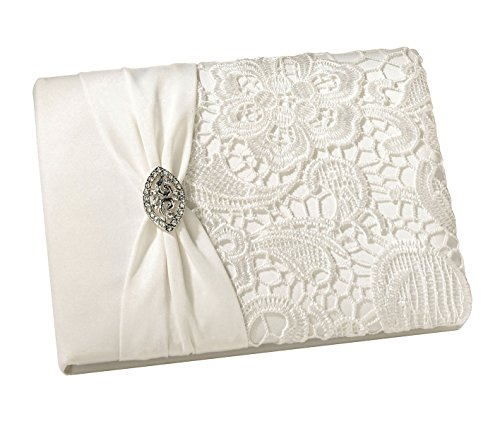 (Lillian Rose Vintage Lace Guest Book - Cream GB720C)
