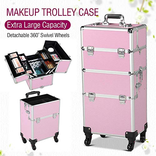 Yaheetech 4 wheels 3 in 1 Professional Rolling Train Cases, Pink Makeup Artist Cosmetic Trolley Cosmetic Makeup case Multifunction ()