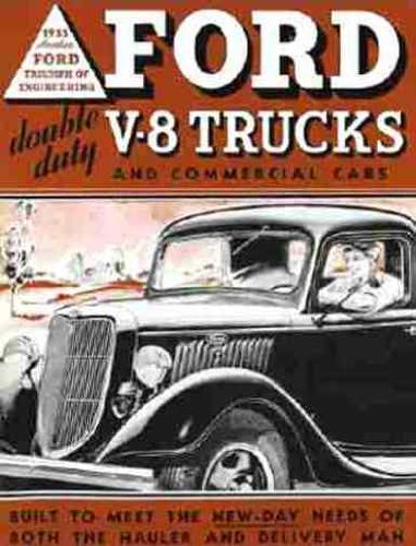 1935 FORD V8 TRUCK & PICKUP BEAUTIFUL DEALERS SALES BROCHURE - ADVERTISEMENT INCLUDES: panels, stake bodies, platform trucks, dump trucks, panel delivery, sedan delivery and station wagon - Pickup Ford 1935
