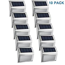 Easternstar Solar Light,Outdoor Waterproof Step Lights,Stainless Steel LED Lights Illuminates Stairs Patio Deck Yard Garden Path Fence Post lamp (10 Pack-Cool White)