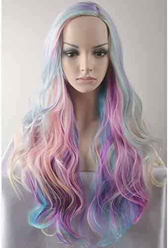RightOn Long Curly Multi-Color Charming Full Wigs for Cosplay Girls Party with Wig Cap (Colorful)