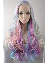 Long Curly Multi-Color Charming Full Wigs for Cosplay Girls Party with Wig Cap (Colorful)