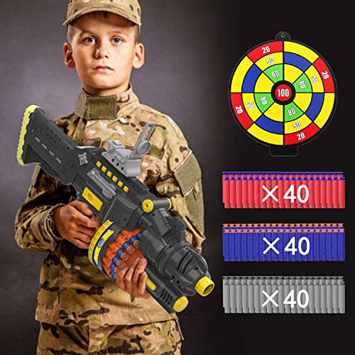 okk Blaster Toy for Boys and Kids, Spinning Barrel with 120PCS Soft Foam Darts and Shooting Target Kids Blaster Toy…