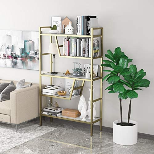 Teraves 5-Tier Adjustable Bookshelf Wood Bookcase with Metal Frame Book Shelf Organizer for Living Room/Bedroom/Study Room,46 Variants (White+Gold Frame)