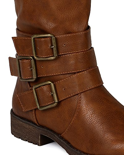 Tan Riding Buckle Vivienne Leatherette Toe 05 Nature Boot Breeze Round z6q1xpzTw