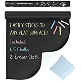 Premium Extra Large Chalkboard Decal Wall Sticker By Kassa (Black) - 5 Colored Chalk and Eraser Cloth Included - Blackboard Contact Paper Vinyl Measures 18 Inches by 6 Feet by Kassa