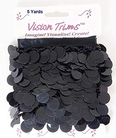 Black Round Sequins Paillettes Charms with Glass Seed Beads On Satin Ribbon Tape for Sewing Quilting Renaissance Dance Hawaiian Bridal Costumes Drapery Decor 5 Yards Hanging Beaded Fringes