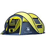 Qisan Automatic Outdoor Pop-up Tent Camping Waterproof Quick-Opening Tents 4 Person Canopy Carrying Bag Easy to Set up