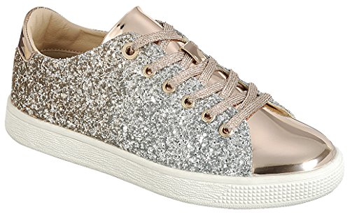 Cambridge Select Womens Closed Round Toe Lace-Up Ombre Glitter Flatform Fashion Sneaker Rose Gold MPtM3DaSt4