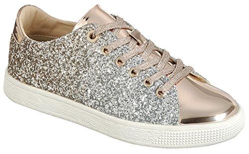 Cambridge Select Womens Fermé Bout Rond Lace-up Ombre Paillettes Flatform Fashion Sneaker Or Rose