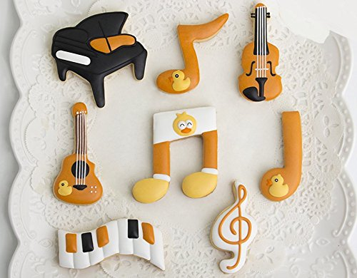 Astra shop 8-Piece Guitar Music Notes Piano Violin Qute Stainless Steel Cookie Cutters Musical Tin Fondant Cutter Cake Cake Decoration Tools Set
