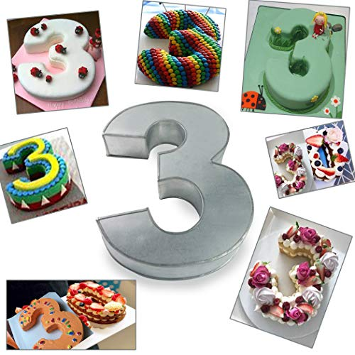 (Large Number Three Birthday/Wedding Anniversary Cake Tins/Pans/Mould 14