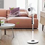MD Group Pedestal Fan Oscillating 3 Speed 4 Blades 15'' Wite Height Adjustable Remote Control Household Appliance