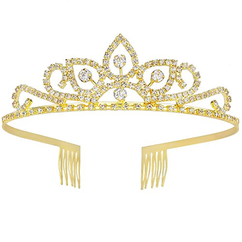 Gorgeous Pretty Rhinestone Tiara Crown Exquisite Headband Comb Pin Wedding Bridal Birthday Gold Tiaras ()