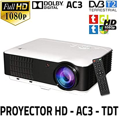 Proyector Unicview HD200, Video Proyector 1080P Full HD, con TDT, USB, HDMI, VGA, AC3, Sintonizador de TDT Incorporado, Compatible con PS4, Switch, ...