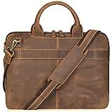 Jack&Chris New Men's Lawyer Briefcase Laptop Bag Leather Messenger Bag (MB004B)