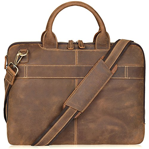 Jack&Chris Men's Lawyer Briefcase Laptop Bag Leather Messenger Bag (MB004B)