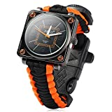 Inlife Paracord Outdoor Watch Survival Compass Whistle Fire Starter Watchband Bracelet