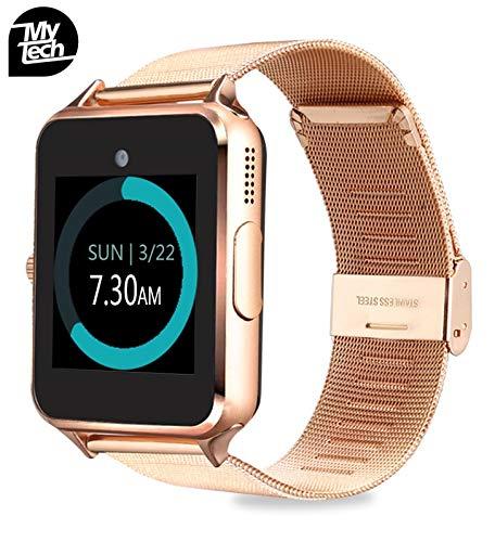 wholesale dealer 9478e 4ec8c MyTECH Smartwatch Z60 Reloj Celular con Extensible de Metal Bluetooth con  Cámara para iPhone Android (Dorado)