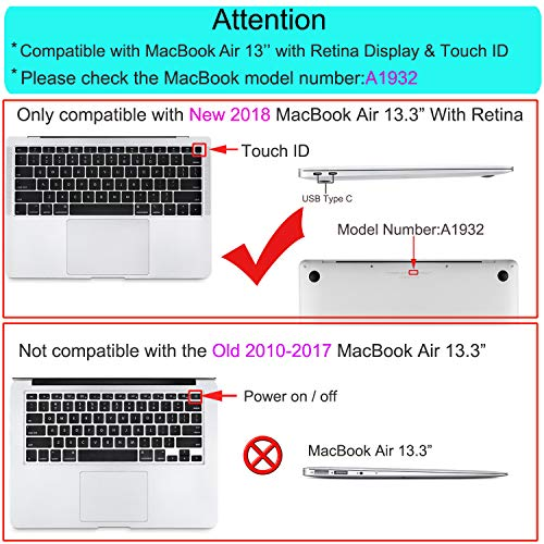 MOSISO MacBook Air 13 Inch Case 2018 Release A1932 with Retina Display, Plastic Hard Shell & Keyboard Cover & Screen Protector & Storage Bag Only Compatible Newest MacBook Air 13, Crystal Clear by MOSISO (Image #2)