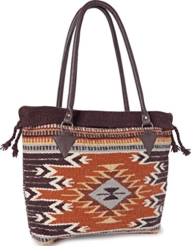 Handwoven Wool Malibu Purse with Genuine Leather handles. Large Eco Friendly Tote Bag, Native American Styles ((K) Tampico)