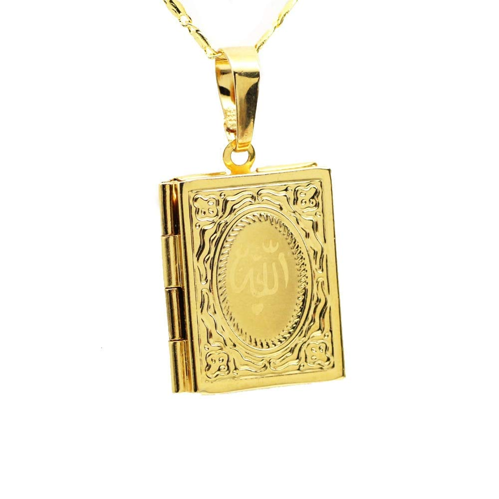 Davitu Allah Box Necklaces /& Pendants for Women Muhammad Pure Gold Color Floating Memory Photo Locket Muslim Islamic Jewelry Best Gifts Metal Color: with 50cm Chain