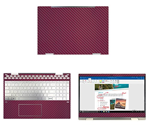 """decalrus Protective decal for HP ENVY X360 15M-CN0011DX (15.6"""" Screen) Laptop WINE Carbon Fiber skin case cover wrap CFhpEnvyX360_15mWine"""