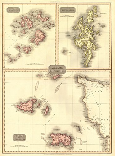Historic Map | 1814 Scilly Islands, Shetland Isles, Jersey and Guernsey | Herbert, L. - Map Jersey Guernsey