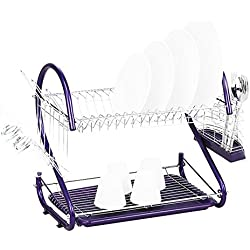 Dish Drying Rack - Stainless Steel 2 Tiers Kitchen Dish Cup Drying Rack Drainer