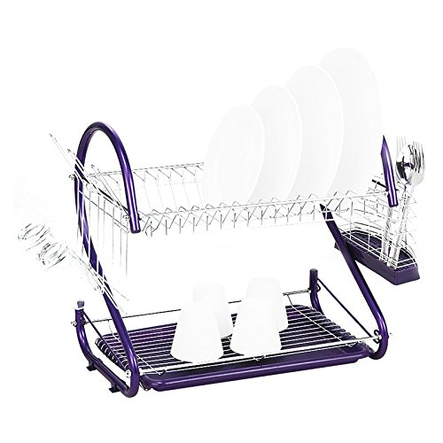 Dish Drying Rack - SODIAL(R) Stainless Steel 2 Tiers Kitchen Dish Cup Drying Rack Drainer (Color:purple) AEQW-WER-AW133196