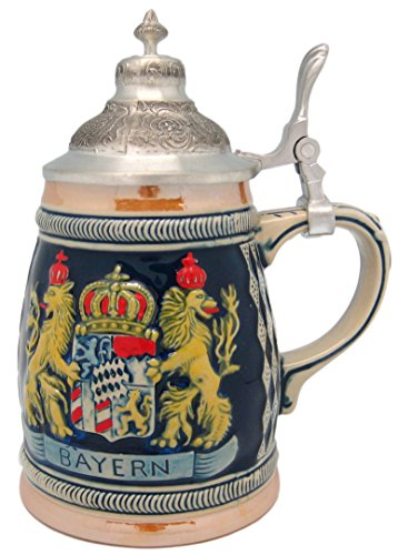 Beer Stein German Bayern Coat of Arms Engraved Lidded Beer Mug by E.H.G | .75 Liter