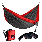 Honest Outfitters Single Camping Hammock With Basic Hammock Tree Straps,Portable Parachute Nylon Hammock for Backpacking travel Red/Charcoal 55