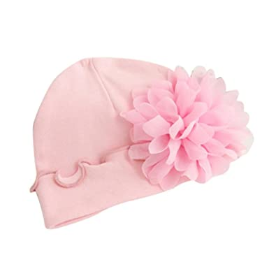 b25aeb9ec83 Turkey Newborn Infant Toddler Baby Girls Summer Hat Princess Soft Large  Flower Cap Outdoor Sun Beach Cotton Hat Suit for 0-1 Years Old (Pink)   Amazon.co.uk  ...