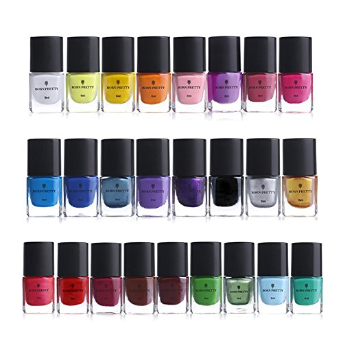 - BORN PRETTY 6ml Nail Art Stamping Polish Colourful manicuring Plate Printing Polish Varnish 25 Colors Set