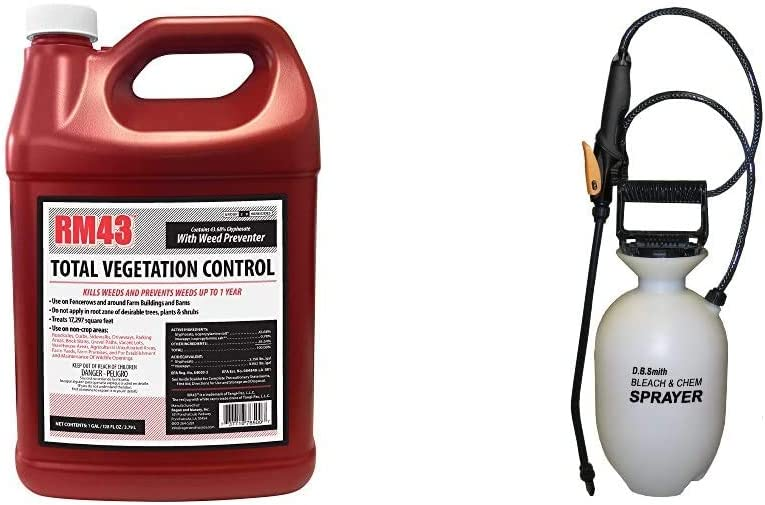 RM43 43-Percent Glyphosate Plus Weed Preventer Total Vegetation Control, 1-Gallon & Smith 190285 1-Gallon Bleach and Chemical Sprayer for Lawns and Gardens or Cleaning Decks, Siding, and Concrete