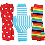 juDanzy 3 Pair Baby Boy And Girl Leg Warmers stripes, Polka Dot, Rainbow (One Size)
