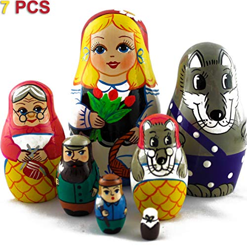 MATRYOSHKA&HANDICRAFT Russian Nesting Dolls Fairy Tale Little Red Riding Hood Set 7 pcs Unique Wooden Toys for Kids