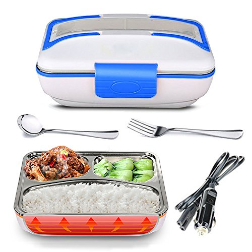 YOUDirect Car Use Electric Heating Bento Lunch Box - Portable Meal Heater Car Plug Food Warmer Stainless Steel Heating Food Container Leak-Proof Food Boxes (Blue)