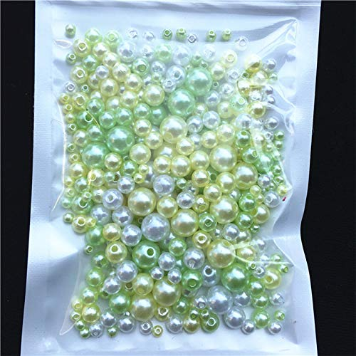 8mm Beads Round 25 (YFDZZSP 250Pcs/Pack Mix Size 3/4/5/6/8mm Beads with Hole Colorful Pearls Round Acrylic Imitation Pearl DIY for Jewelry Making Nail Art,25)